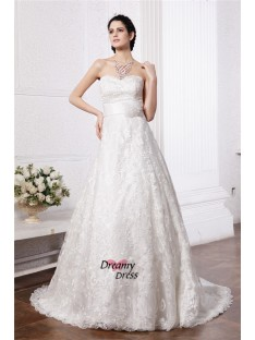 A-Line/Princess Sweetheart Sash Chapel Train Lace Wedding Dress