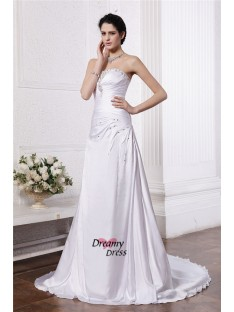 A-Line/Princess Strapless Court Train Silk like Satin Wedding Dress
