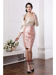 Sheath Strapless Short Elastic Woven Satin Mother of the Bride Dress