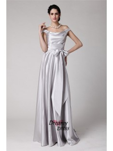 Sheath Off-the-Shoulder Long Elastic Woven Satin Dress