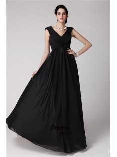 Sheath V-neck Long Chiffon Dress