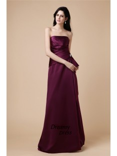 A-Line Strapless Long Satin Dress