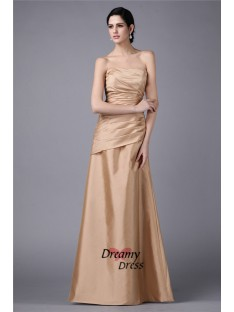 Sheath Strapless Long Taffeta Dress