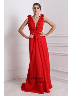 A-Line V-neck Long Chiffon Dress
