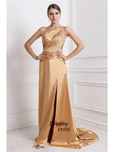 A-Line One-Shoulder Long Elastic Woven Satin Dress