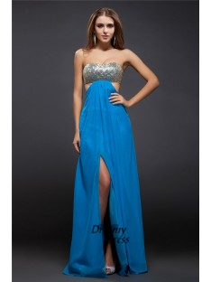 Sheath Strapless Sequin Lace Long Chiffon Dress