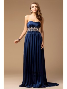 Sheath Strapless Long Silk like Satin Dress