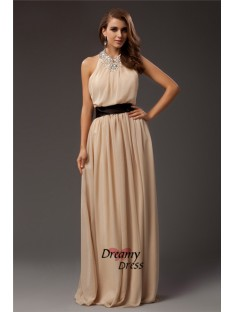 Sheath Jewel Long Chiffon Dress