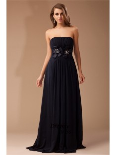 Sheath Strapless Long Chiffon Elastic Woven Satin Dress