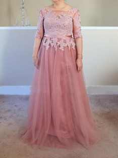 A-Line/Princess Bateau Floor-Length Tulle Mother Of The Bride Dress