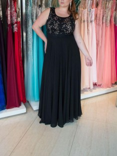 A-Line/Princess Straps Floor-Length Chiffon Plus Size Dress