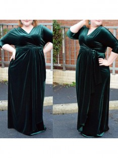 Sheath/Column V-neck Floor-Length Velvet Plus Size Dress