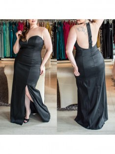 Sheath/Column Sweetheart Floor-Length Elastic Woven Satin Plus Size Dress