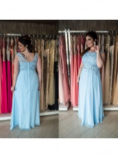 A-Line/Princess Bateau Floor-Length Chiffon Plus Size Dress