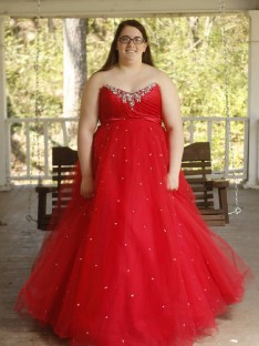 Ball Gown Sweetheart Floor-Length Organza Plus Size Dress