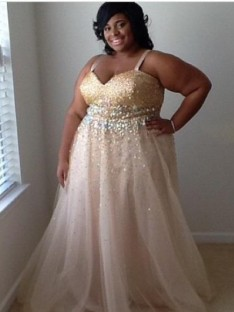 A-Line/Princess Spaghetti Straps Floor-Length Tulle Plus Size Dress