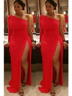 Sheath/Column One-Shoulder Floor-Length Spandex Plus Size Dress