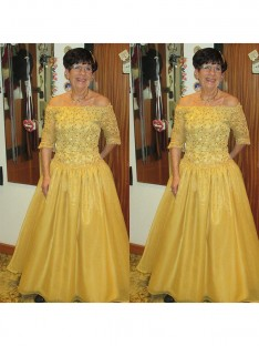 A-Line/Princess Off-the-Shoulder Floor-Length Tulle Mother Of The Bride Dress
