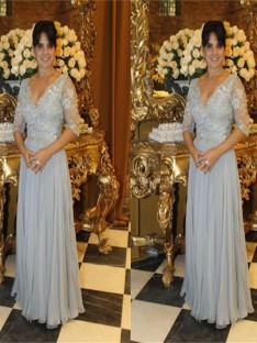 A-Line/Princess V-neck Floor-Length Chiffon Mother Of The Bride Dress