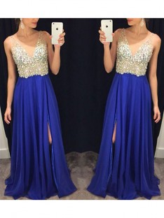 A-Line V-neck Chiffon Crystal Long Dress
