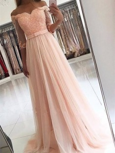 A-Line/Princess Off-the-Shoulder Tulle Sweep/Brush Train Dress