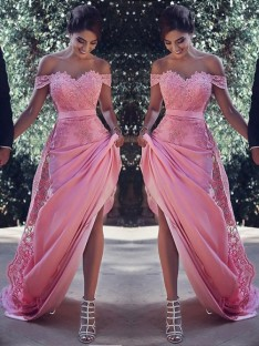 Sheath/Column Off-the-Shoulder Sweep/Brush Train Lace Silk like Satin Dress