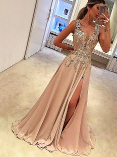 A-Line V-neck Floor-Length Chiffon Dress