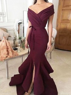 Trumpet/Mermaid Off-the-Shoulder Floor-Length Satin Dress