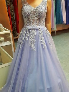 A-Line V-neck Floor-Length Tulle Dress