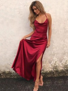 A-Line Spaghetti Straps Floor-Length Elastic Woven Satin Dress