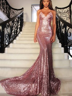 Mermaid Sequins V-neck Sleeveless Sweep/Brush Train Dress