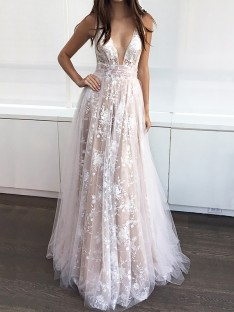 A-Line V-neck Floor-Length Tulle Sleeveless Dress
