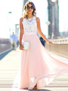 A-Line Jewel Floor-Length Chiffon Dress