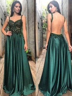 A-Line Straps Floor-Length Satin Dress