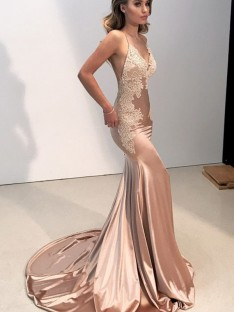 Mermaid Straps V-neck Sweep/Brush Train Silk like Satin Dress