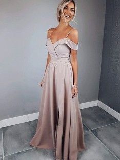 A-Line Spaghetti Straps Floor-Length Satin Dress