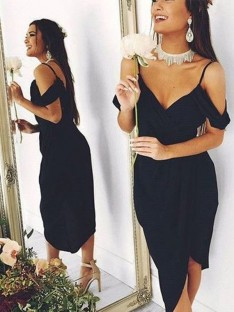 Sheath Spaghetti Straps Chiffon Asymmetrical Dress