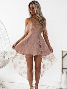 A-Line Off-the-Shoulder Lace Satin Short Dress