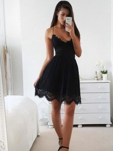 A-Line Lace Spaghetti Straps Short Dress