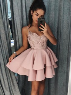 A-Line Spaghetti Straps Satin Short Dress