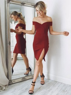 Sheath Off-the-Shoulder Satin Knee-length Dress