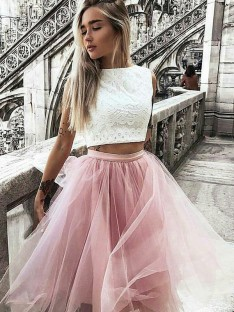 A-Line Tulle Bateau Lace Knee-Length Two Piece Dress