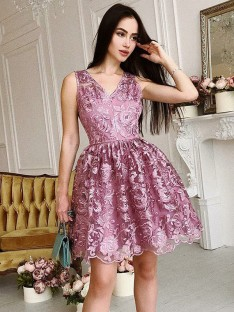 A-Line V-Neck Organza Short Dress