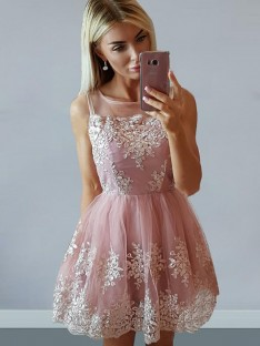 A-Line Tulle Scoop Short Dress