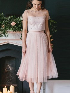 A-Line Tulle Scoop Tea-Length Two Piece Dress