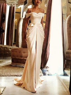 Sheath Sweep/Brush Train Off-the-Shoulder Silk like Satin Wedding Dress