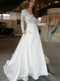 A-Line Sweep/Brush Train V-neck Satin Wedding Dress