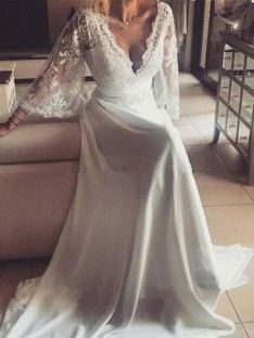 A-Line V-neck Court Train Lace Wedding Dress