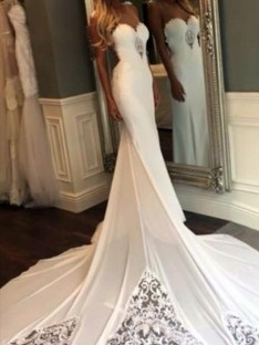 Mermaid Sweetheart Cathedral Train Lace Wedding Dress