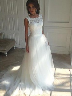 A-Line Square Court Train Tulle Wedding Dress
